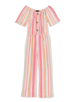 Girls 7-16 Button Detail Striped Jumpsuit - 1619029890007
