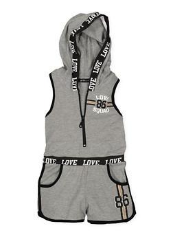 Girls 7-16 Love Graphic Zip Front Romper - 1619038340063
