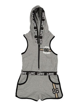 Girls 7-16 Love Graphic Zip Front Romper - 1619038340063