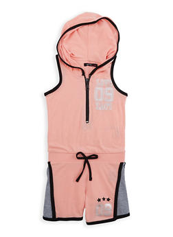 Girls 7-16 Love Graphic Hooded Romper - 1619038340067