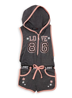 Girls 7-16 Love Graphic Hooded Romper - 1619038340069