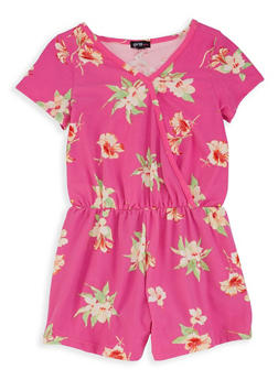 Girls 7-16 Floral Faux Wrap Romper - 1619038340084