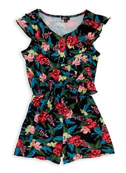 Girls 7-16 Floral Ruffle Romper - 1619038340085