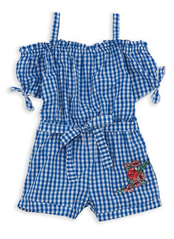 Girls 7-16 Gingham Off the Shoulder Romper - 1619038340089