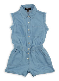 Girls 7-16 Cinched Waist Denim Romper - 1619038340091