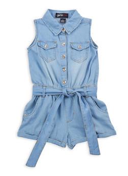 Girls 7-16 Belted Denim Romper - 1619038340094