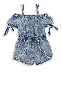 Girls 7-16 Acid Wash Crochet Trim Denim Romper - 1619038340095