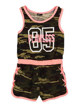 Girls 7-18 Flawless Graphic Camo Romper - 1619038340104