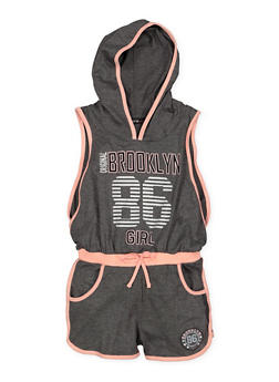 Girls 7-16 Open Side Graphic Hooded Romper - 1619038340106