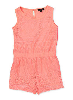 Girls 7-16 Lace Tank Romper - 1619038340115