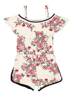 Girls 7-16 Floral Ruffle Soft Knit Romper - 1619038340121
