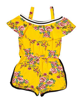 Girls 7-16 Floral Ruffle Soft Knit Romper - 1619038340121