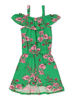 Girls 7-16 Floral Overlay Ruffle Romper - 1619038340126