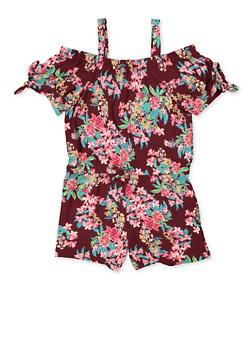Girls 7-16 Floral Tie Sleeve Off the Shoulder Romper - 1619038340127