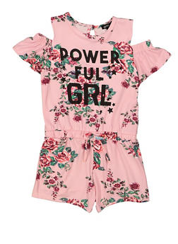 Girls 5-16 Powerful GRL Cold Shoulder Romper - 1619038340131
