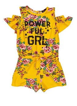 Girls 7-16 Powerful GRL Cold Shoulder Romper - 1619038340131