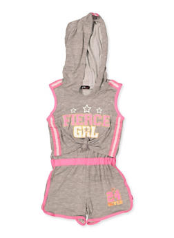 Girls 4-16 Fierce Grl Knot Front Hooded Romper - 1619038340132
