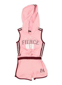 Girls 4-16 Fierce Grl Knot Front Hooded Romper - 1619038340132