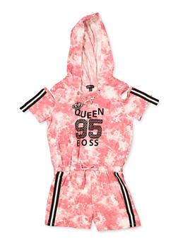 Girls 7-16 Queen Boss Hooded Romper - 1619038340133