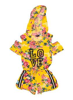 Girls 5-16 Hooded Love Floral Cold Shoulder Romper - 1619038340134