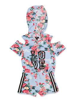 Girls 5-16 Hooded Love Floral Cold Shoulder Romper - 1619038340134