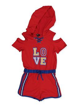 Girls 7-16 Love Hooded Cold Shoulder Romper - 1619038340137