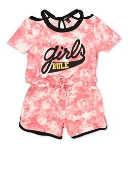 Girls 7-16 Tie Dye Tie Front Romper - 1619038340138
