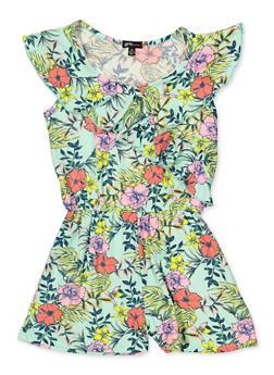 c02ca2d769c Girls 7-16 Asymmetrical Ruffle Floral Romper - 1619038340140