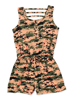 Girls 7-16 Camo Caged Back Romper - 1619038340142