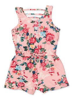 Girls 7-16 Floral Caged Back Romper - 1619038340143