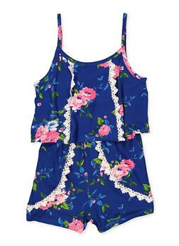 Girls 7-16 Floral Overlay Cami Romper | 1619038340154 - 1619038340154