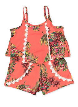 Girls 7-16 Tropical Floral Cami Romper - 1619038340155