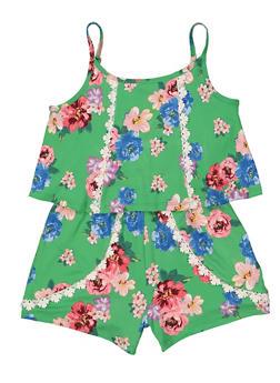 Girls 7-16 Soft Knit Floral Romper - 1619038340156