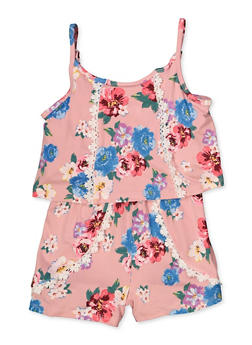 Girls 7-16 Soft Knit Floral Romper - 1619038340156