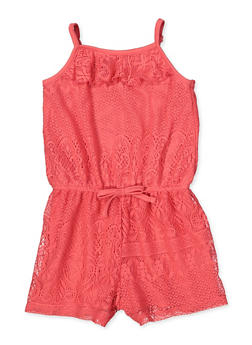 Girls 7-16 Lace Ruffle Romper - 1619038340157