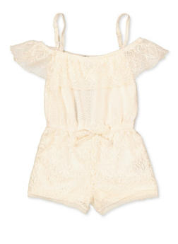 Girls 7-16 Lace Off the Shoulder Romper | 1619038340158 - 1619038340158