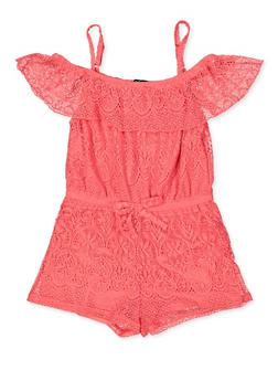 Girls 7-16 Lace Off the Shoulder Romper | 1619038340158 - 1619038340158