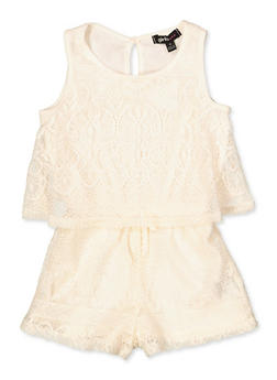 Girls 4-16 Lace Overlay Tank Romper - 1619038340159