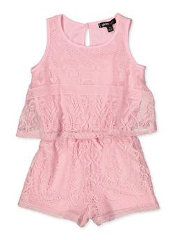 Girls 5-16 Lace Overlay Tank Romper - 1619038340159