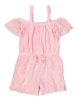Girls 7-16 Lace Off the Shoulder Romper - 1619038340160
