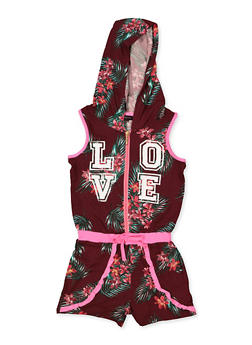 Girls 7-16 Hooded Love Floral Romper - 1619038340163