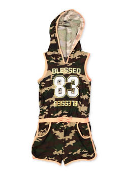 Girls 7-16 Hooded Blessed Camo Romper - 1619038340165