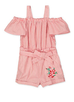 Girls 5-16 Striped Embroidered Romper - 1619038340166