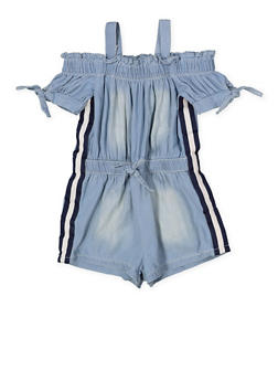Girls 7-16 Striped Tape Denim Romper - 1619038340168