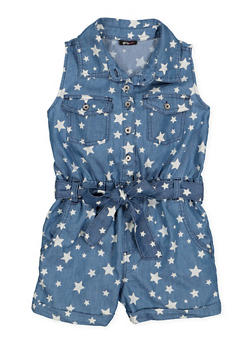 Girls 7-16 Star Print Chambray Romper - 1619038340169