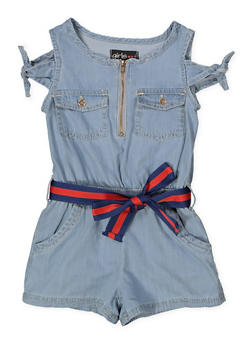 Girls 7-16 Belted Denim Romper - 1619038340173