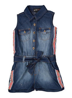 Girls 7-16 Striped Tape Tie Waist Denim Romper - 1619038340174