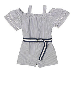 Girls 7-16 Off the Shoulder Striped Romper - 1619038340175