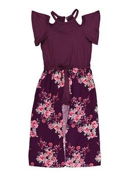 5ac4c2de577b Girls 7-16 Cold Shoulder Floral Maxi Romper - 1619038340184