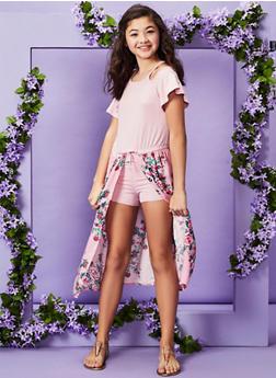 Girls 7-16 Cold Shoulder Floral Maxi Romper - 1619038340184